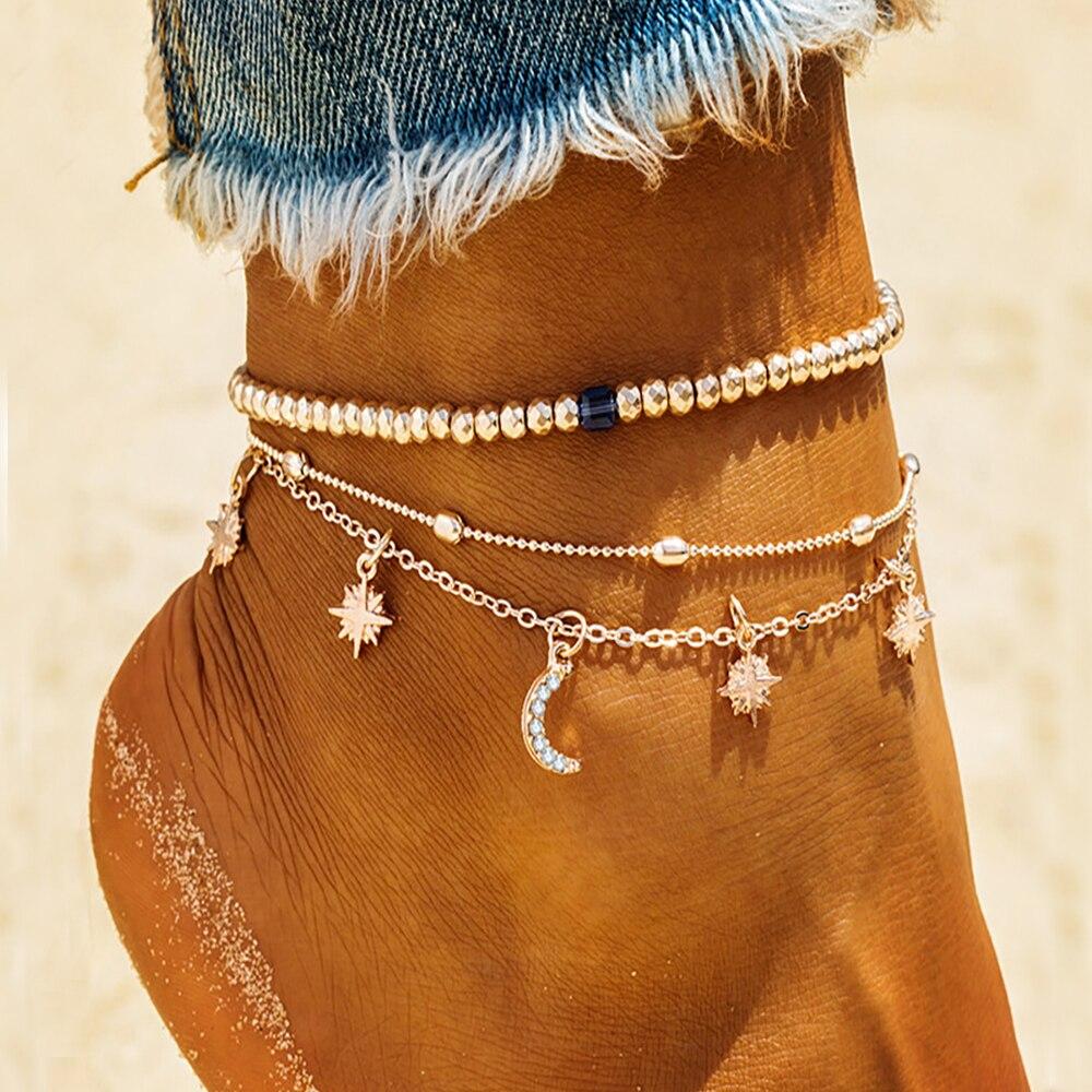 Модные женские богемные браслеты kinнародного стиля, летние пляжные браслеты со звездами, ремешком на лодыжку, браслеты на ногу