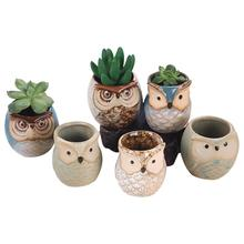 LanLan 6pcs Ceramic Owl Plant Pot Flowing Glaze Base Creative Flower Container as Decorations