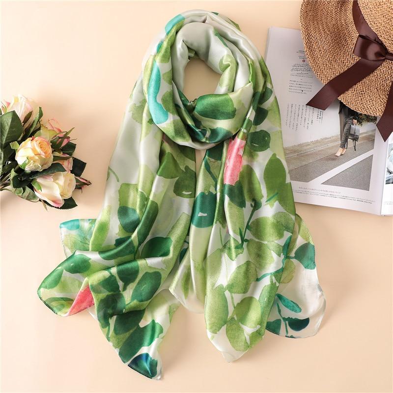 New Flower Printing Design Scarf Wrap Green