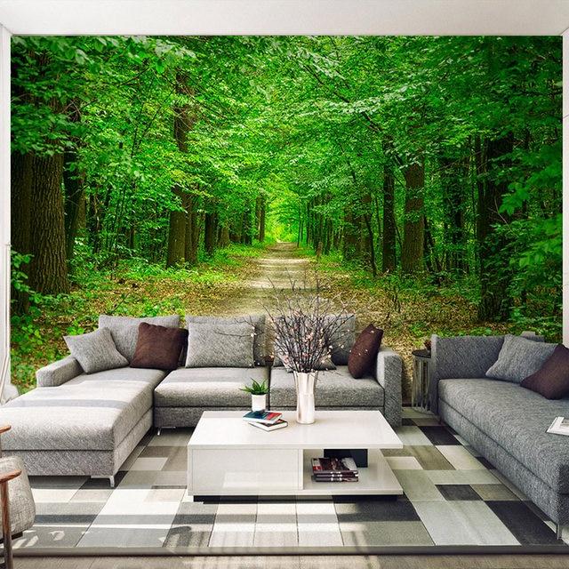 Online Shop 3D bos groene bladeren behang verse tuin muurschildering ...