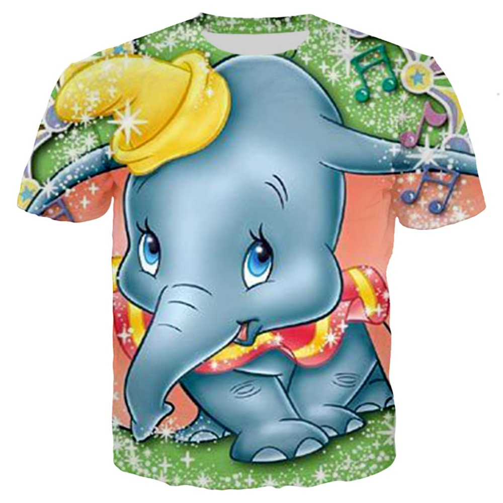 Family Matching Outfit Children Kids T-shirt Dumbo T Shirts 3D Print Tshirt Summer Clothes Girls Cartoon Cute Elephant Tees Tops(China)
