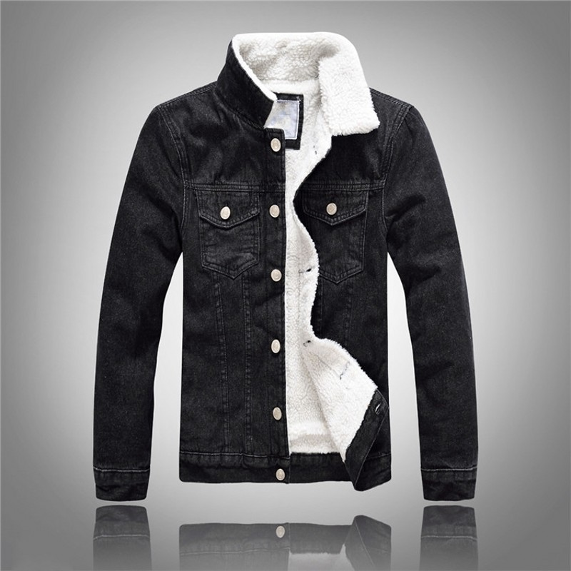 Winter New Fashion Men Short Casual Fur Lining Coats Male Single Breasted Turn Down Collar Jackets Jean Denim Large Size M-5XL