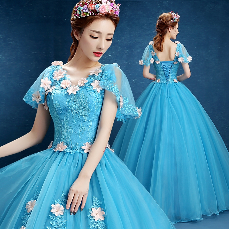 Ball Gown Quinceanera Dresses for 15 years With Flower Pleat Lace Tulle Formal V-Neck Prom Dress With Cap Sleeves robe de mariee