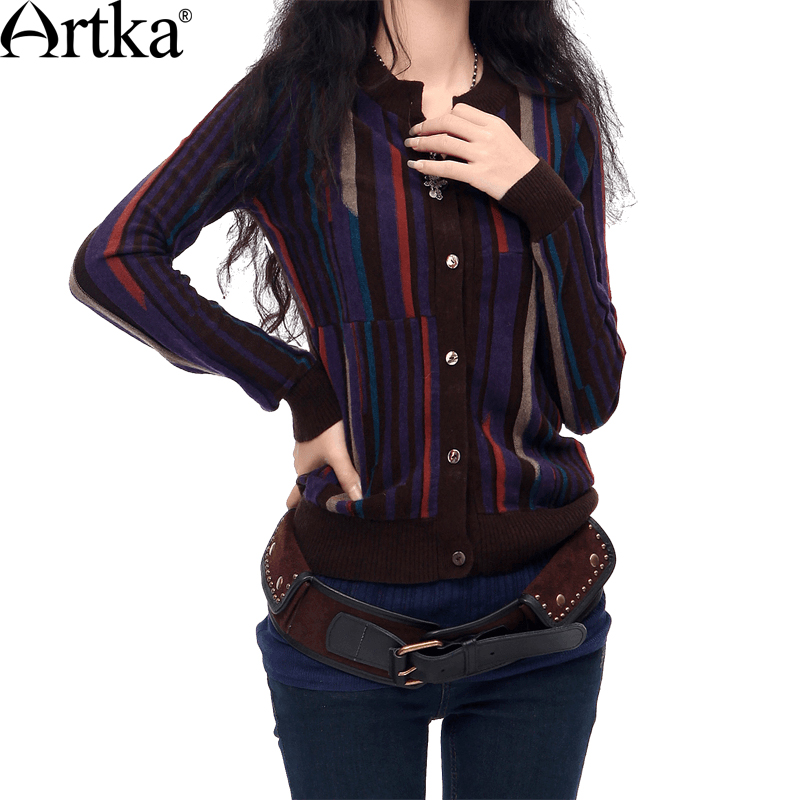 ARTKA Women s Autumn Vintage Casual Scoop Neck Full Sleeve Single Breasted Striped Mid Long Wool