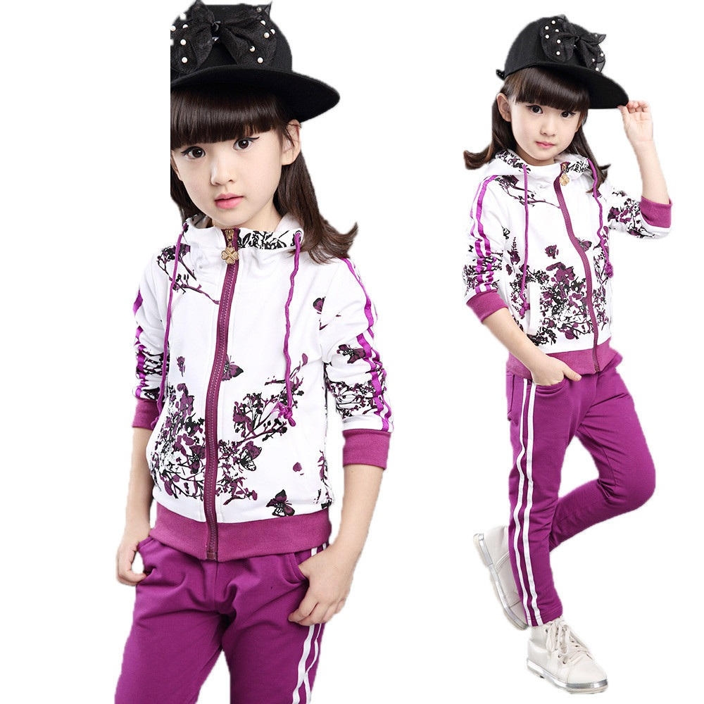 Autumn Children Clothing Girls Big virgin Piece Suit  With Pants Kids Clothes Sets Nova Tracksuit For Girls YL154