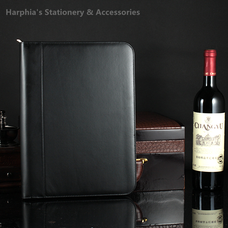 Harphia Zipper Document Folder Bag Portfilio Black Business Manager Document Bag file folder holder brief case with calculator harphia a4 document bag special pu leather file holder office business classical manager bag document folder calculator note