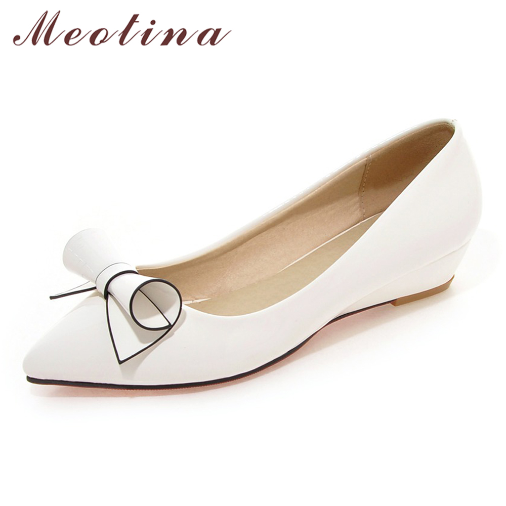 Meotina Shoes Women Bow Low Heels Ladies Wedge Heels Bridal Shoes Patent Leather Footwear White Red