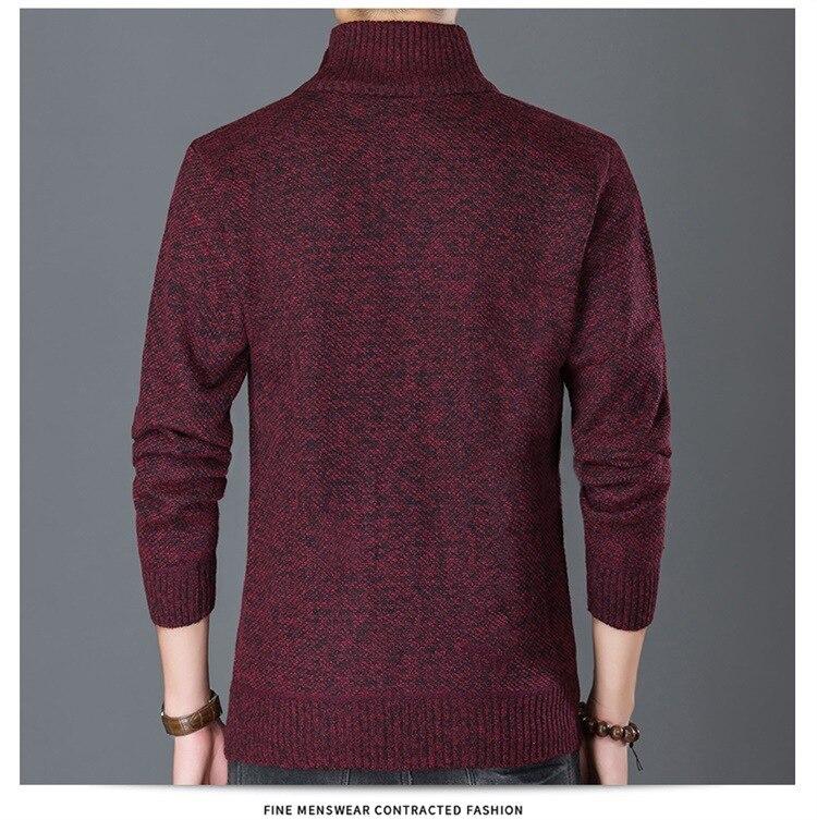 HTB1MEjyX0jvK1RjSspiq6AEqXXa0 Fashion Wind Breaker Jackets Men Stand Collar Thicken Fleece Jacket Solid Knit Overcoat Cardigan Male Coat Brand Men's Clothing