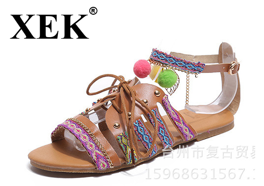XEK Fashion Ethnic Bohemian Summer Woman Pompon Sandals Gladiator Roman Strappy Embroidered Shoes Women Flat Sandals WFQ06 ethnic embroidered black cami dress for women