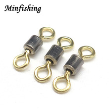 Minfishing 50PCS double color Swivel Snap Ball Bearing Swivel Solid Rings Fishing Connector Rolling Swivel Fishing Hooks