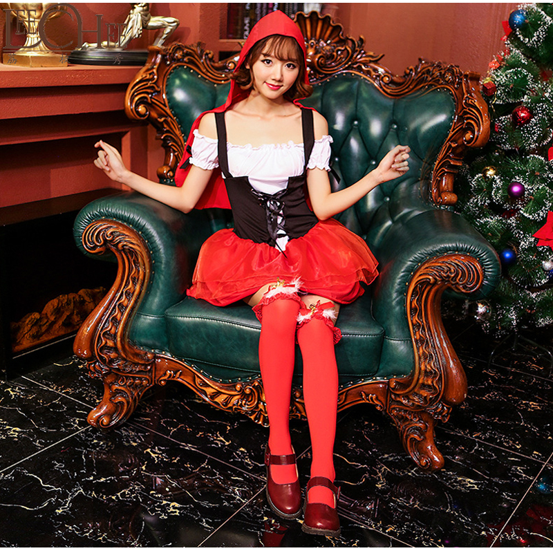 Leechee Cute Red Riding Hood Lace Bow Costumes Princess Dresses Christmas SM Babydoll Sexy Lingerie Holloween Teddy Sexy Club