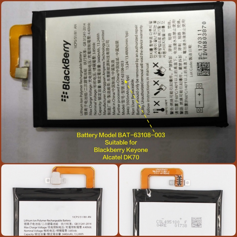 Battery suitable for Alcatel TCL Mobile with Battery Model BAT-63108-003 for Blackberry Keyone and  Alcatel DK70Battery suitable for Alcatel TCL Mobile with Battery Model BAT-63108-003 for Blackberry Keyone and  Alcatel DK70