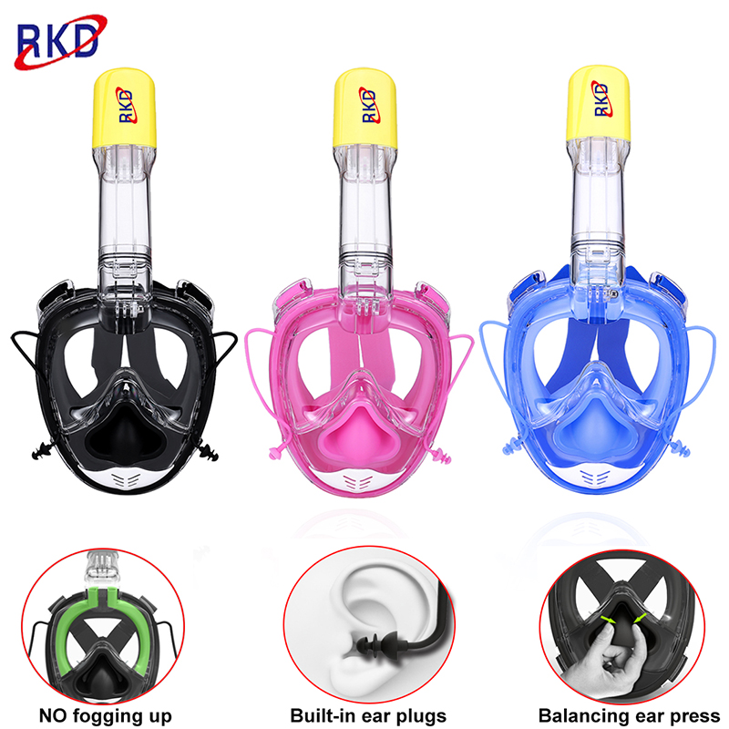 RKD 2nd generations Full Face Diving mask Swimming training Scuba Snorkeling mask Anti Fog  Respiratory masks 100% waterproof 50pcs high quality dust fog haze oversized breathing valve loop tape anti dust face surgical masks