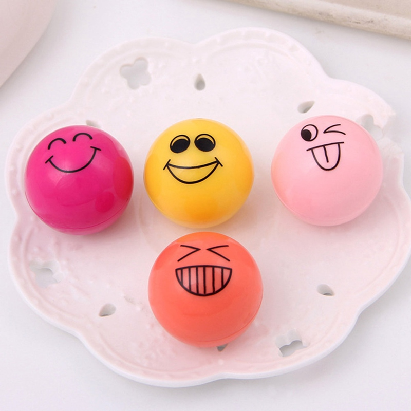 1pc Face Expression Cute Lip Ball Lip Balm Lipstick Lip Protector Natural Plant Ingredients Embellish Lip Gross