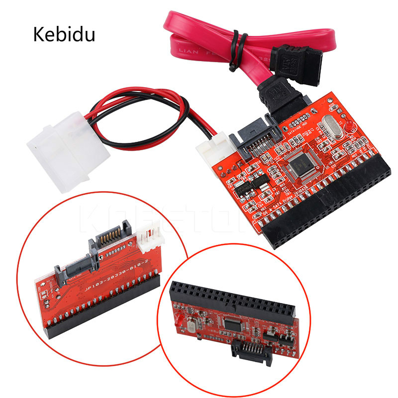 "Kebidu 2 in 1 SATA to IDE Adapter IDE to SATA Converter 40 pin 2.5"" inch Hard Disk Driver Support for ATA 133 100 HDD CD DVD