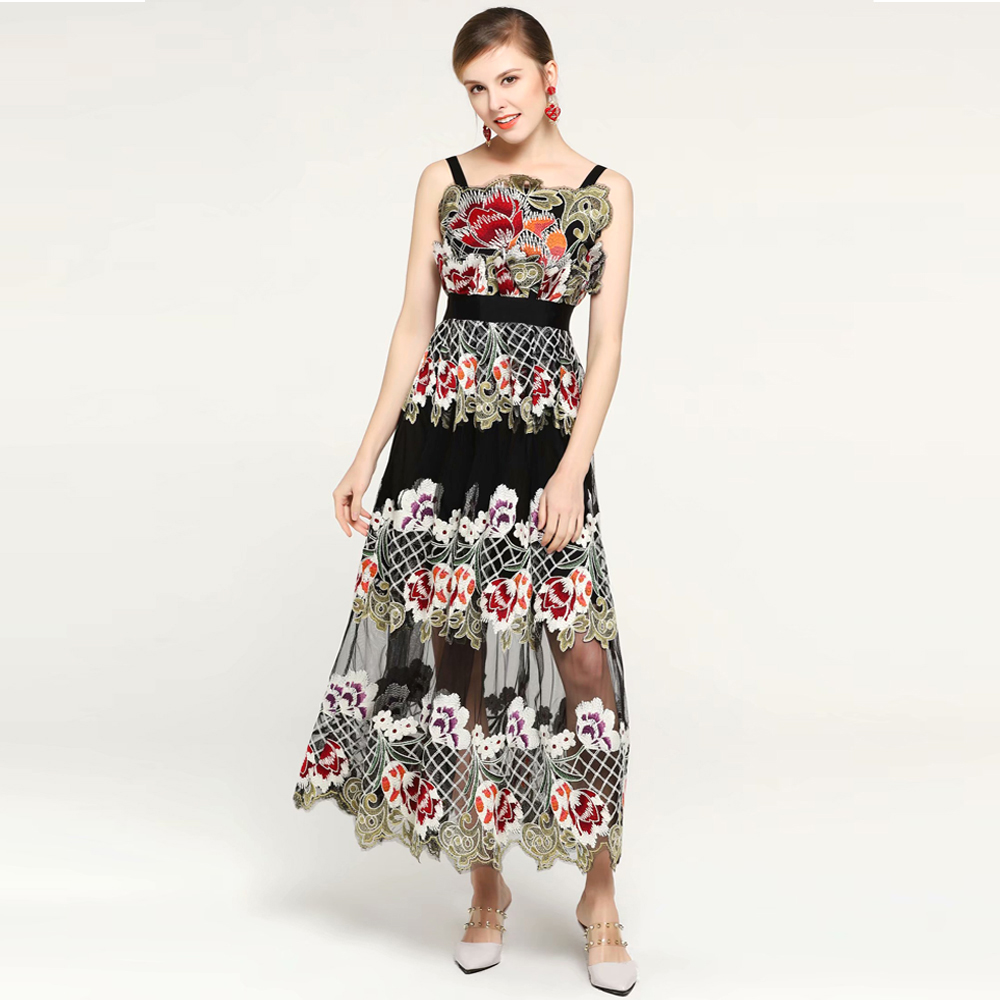 Sexy 2019 Black Dresses Summer Red Vestidos C Runway Women Robe Gauze Strap Femme Roosarosee Elegant Spaghetti Dress Embroidery xgwAv