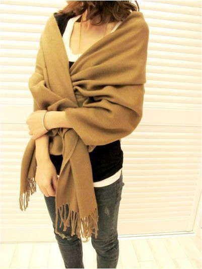 New Free Shipping Autumn Winter Women's Yarn Muffler Scarf Cape multi-use Ultra Long Plaid Scarf  warm scarf khaki pure color
