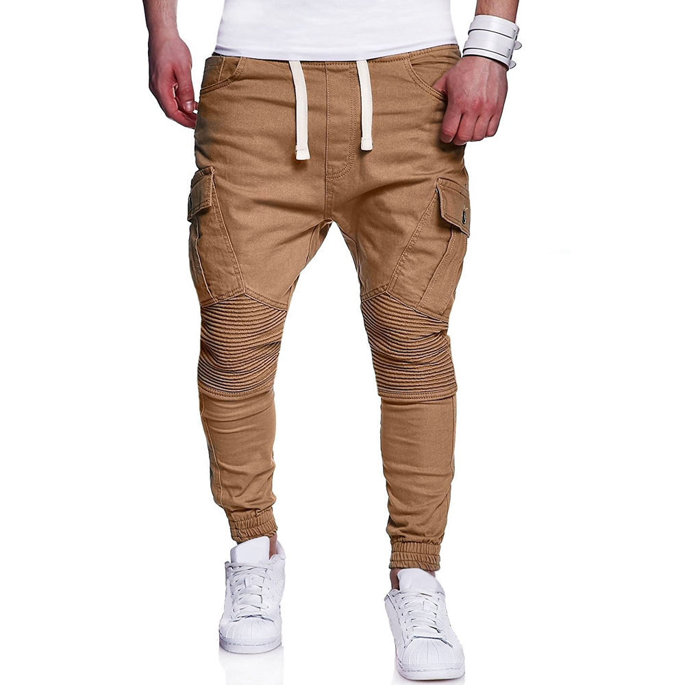Jogger Pants Sportswear Trousers Pleated Skinny Fitness Elastic Workout Male Casual