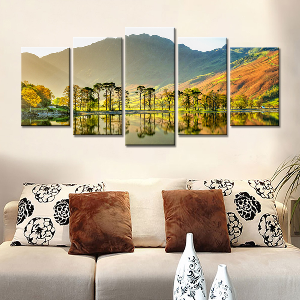 online buy wholesale sunshine drops from china sunshine drops 5 pieces drop shipping home decor canvas prints painting trees mountains sunshine wall art pictures for