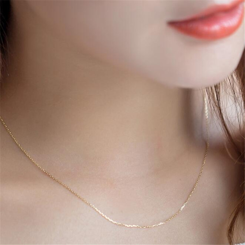 0 5g 1 1g 18K Gold O Chain Necklace For Women Au750 16inch 18inch Yellow Gold Rose Gold White Gold Hot Sale For Fine Jewelry in Necklaces from Jewelry Accessories