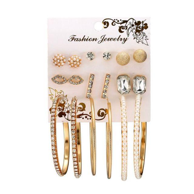9 Pairs/Set Round Earrings Luxury Rhinestone Circle Ring Ear Stud Fashion Dangle Charms Jewelry Women Lady Floral Statemen