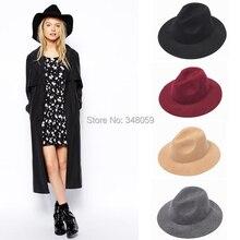 Абсолютно Новая мода Шерсть Женская фетровая шляпа осень зима Панама солнце мягкая фетровая шляпа в джазовом стиле Кепка
