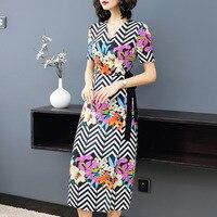 100% Silk Striped Floral Print V Neck Short Sleeve Slim Party Dress 2019 New Women Summer Office Lady Work A Line Dress