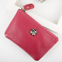 2017Genuine Leather Women Wallet Cow Leather Coin Purses Casual Style Floral Mini Bag