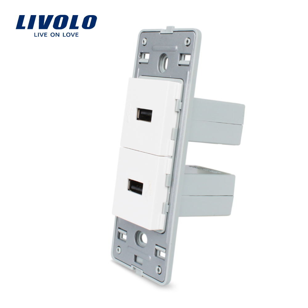 Livolo US Standard DIY Parts Plastic Materials Function Key,White 2 Gang For USB Socket, VL-C5-2U-11/12 welaik free shipping white plastic materials diy accessory function key for phone and usb socket eu standard a8tpus