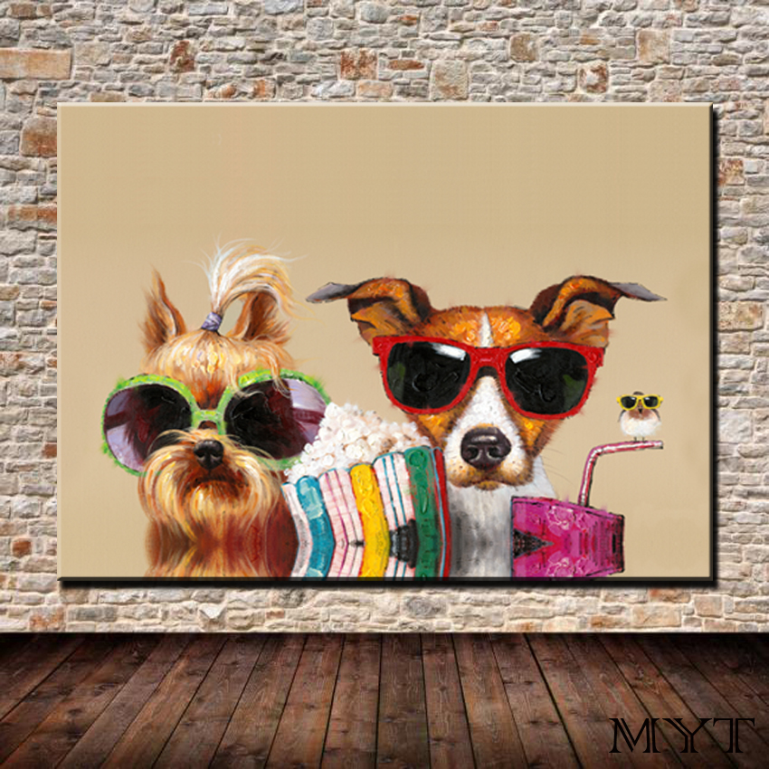 899635d5555a Free Shipping Abstract Modern HD Printed and 50% Handpainted 2 dog with  glasses on Canvas Oil Painting home decoration for room