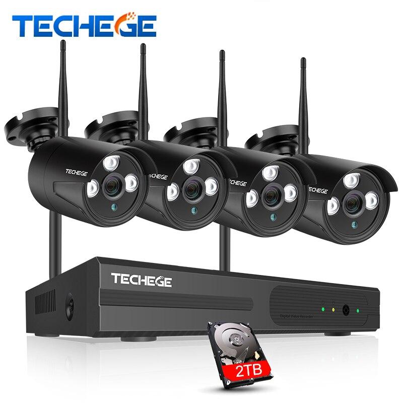 Techege 4CH WIFI 720 p NVR KIT Plug & Play Sans Fil NVR Kit P2P 1.0MP HD de Nuit En Plein Air Vision Sécurité caméra IP WIFI CCTV Système
