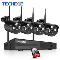 Techege 4CH WIFI 720P NVR KIT Plug Play Wireless NVR Kit P2P 1 0MP HD Outdoor