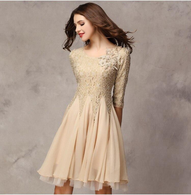 Women S Half Sleeve Sexy Lace Knee Length Dresses Boda
