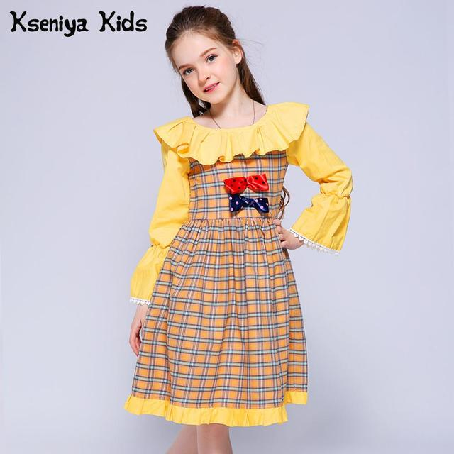 Kseniya Kids Girl Princess Dress Summer Lace Bow Plaid 2018 Girls Dresses For Party Wedding 10 Years Robe Pour Dentelle Fille