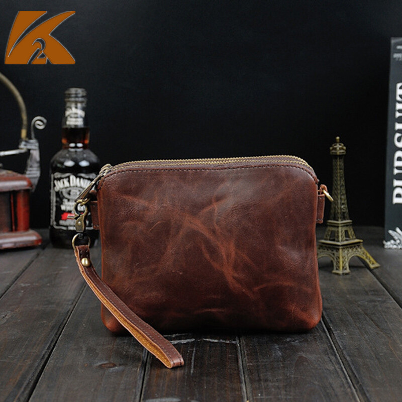 Luxury Brand Genuine Leather Clutch Bag Men Famous Designers Real Crazy Horse Leather Handbags Male Day Clutches Hand Bags