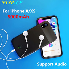 5000mAh Phone External Battery Charger Cases For iPhone XS Portable Power Bank Travel Charging Case for iPhone X With Audio