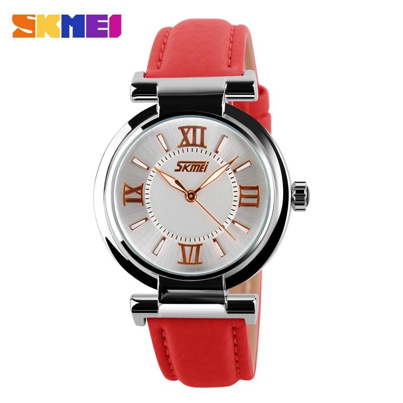 Venta caliente moda skmei señoras reloj de cuarzo vestido de las mujeres de  la marca mujeres correa de cuero relojes moda a prueba de agua Relojes 1ad37a68ce98