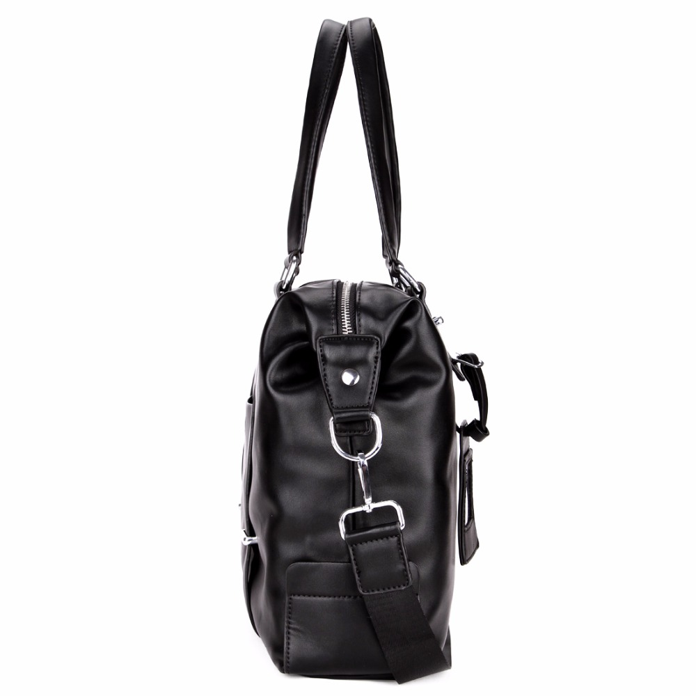 9e1cb7bf89 VICUNA POLO Men Travel Duffle Bag PU Leather Men s Travel Bags Black  Shoulder Handbag Brand Large Capacity Travel Handbag Bolsas-in Travel Bags  from Luggage ...