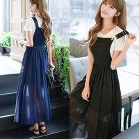 Lente zomer elegante ol dame vrouwen dress chiffon hoge tall taille zwarte bandjes losse bandjes lange dress plus size