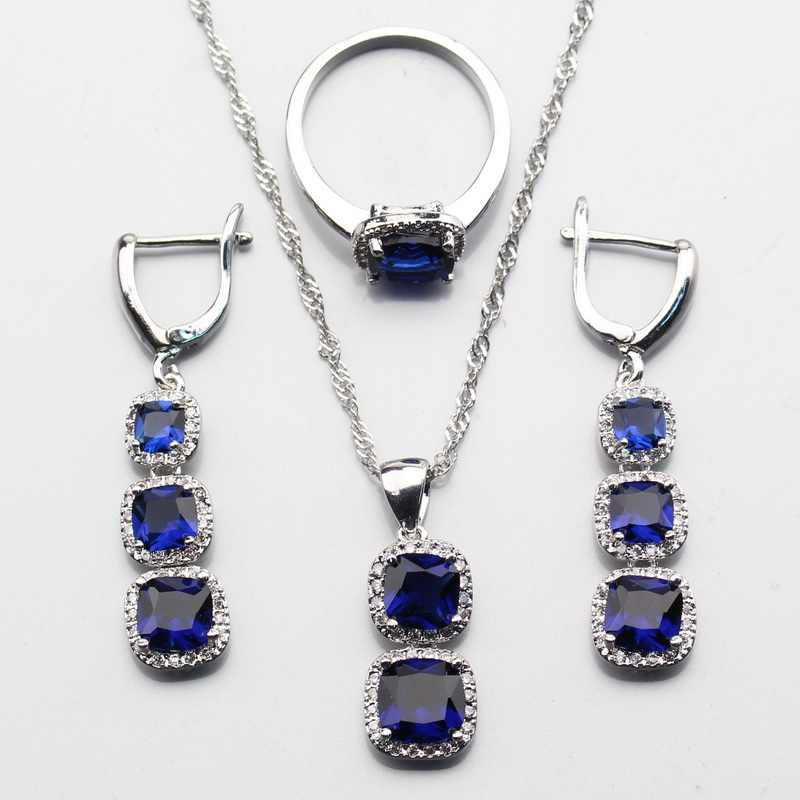 925 Sterling Silver 2017 Best Selling Blue Zircon Jewelry Sets For Women Ring Size 6/7/8/9/10 Free Gift Box JS343