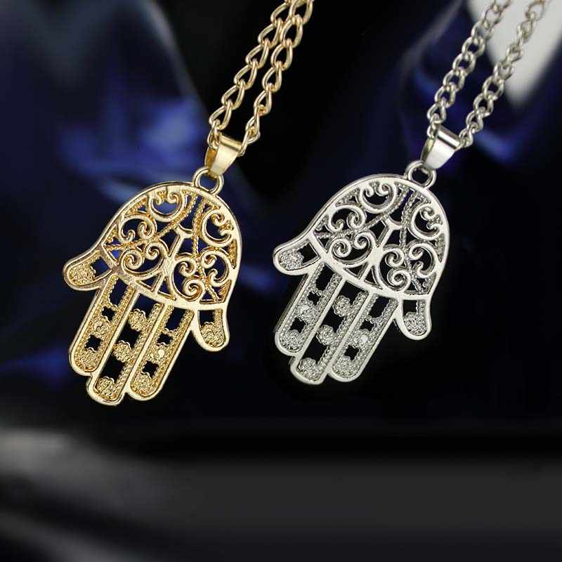 Hamsa Fatima Necklace Silver Gold Color Link Chain Hand Pendant Necklace for Women Statement Necklace Jewelry 2019