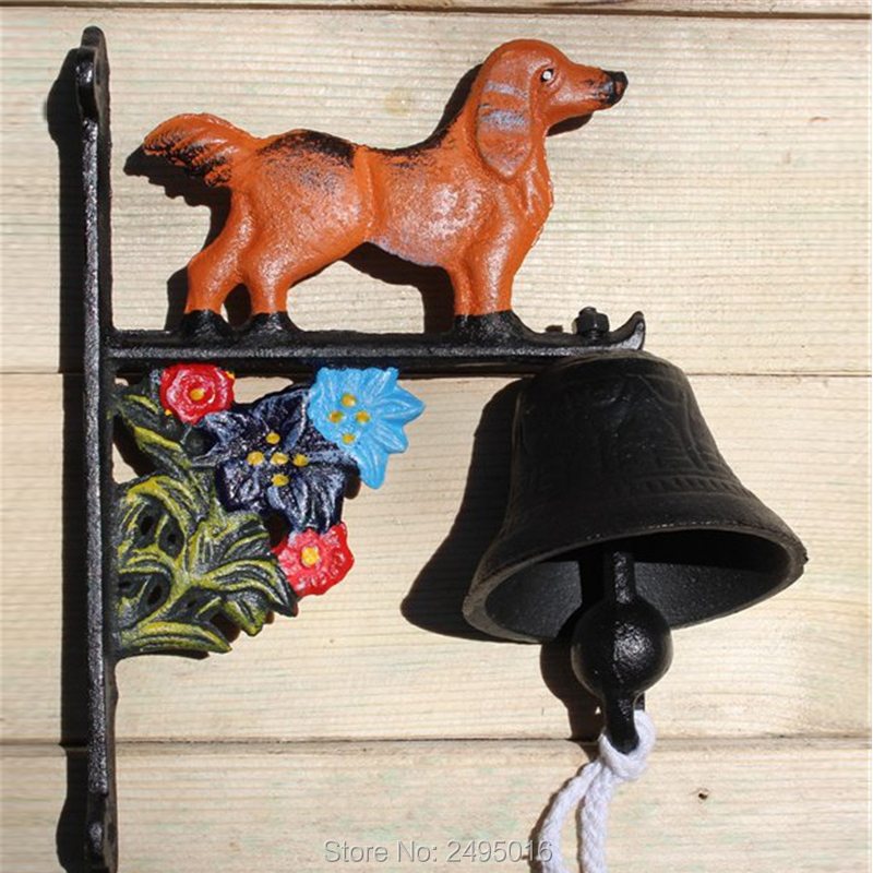 Country Rustic Grape Door Bell with dog WELCOME Bell Cast Iron Wall Decorative Bell for Home Bar Shop Store Antirust