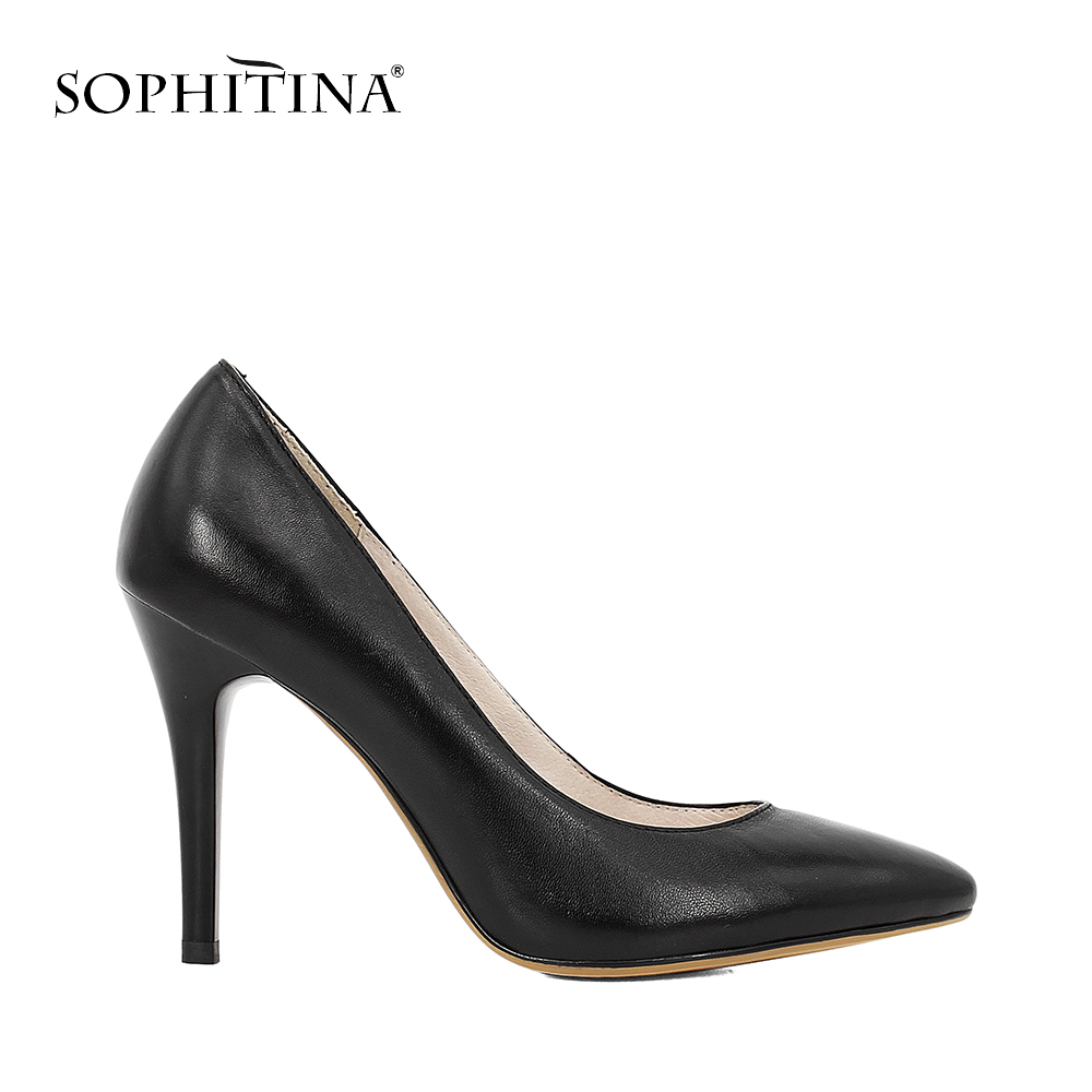 SOPHITINA Classics Wedding Lady Pumps Sexy Shallow Party Slip-on Thin High Heels Pumps Pointed Toe High Quality Women Shoes D56 fedonas new women pumps 2018 mary jane high heels sexy pointed toe slip on wedding party shoes for lady buckles female pumps