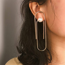 Geometric Paper Clip Style Charms Stud Earrings for Women 2019 Fashion Exaggeration Pearl Statement Jewelry Gift