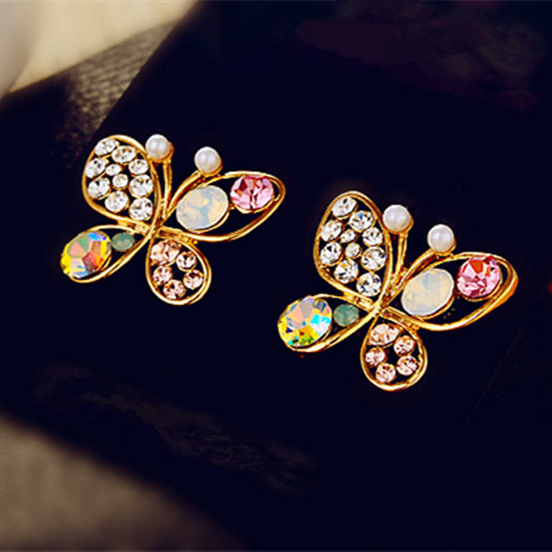E0378 Hot Sale Full Rhinestone Butterfly Stud Earring For Women Girls Shiny Crystal Earring Statement Ear Jewelry Gift Wholesale