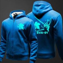 Warm Winter Fleece Jacket Thick EVA Hoodies Men Neon Genesis Evangelion Cosplay Sweatshirts Anime Zipper Jacket
