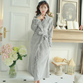 Women's Robe Bathrobe Winter Long Collar Robe Soft Warm Bathrobe Coral Velvet Cloth Bath Robe Homewear Gift of Luxury