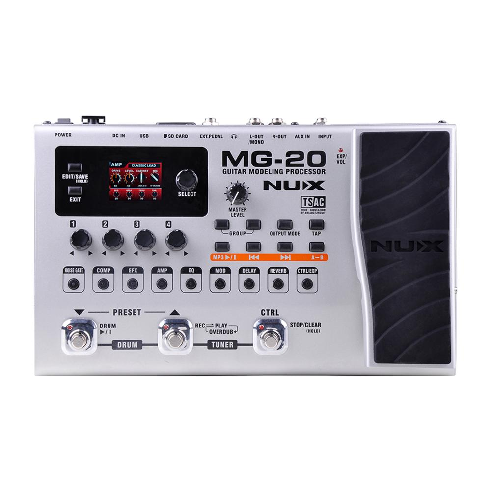 цена на NUX MG-20 Electric Guitar Modeling Processor Multi Effects Guitar Pedal Drum Pattern Switch Pedal Solo Tapo Delay