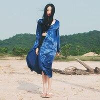 2019 Japanese style Loose big sleeves long cool pajamas coat blue shirt