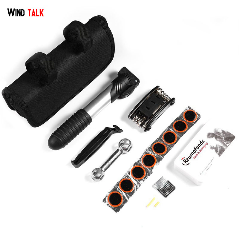 Wind Talk Multifunction Tire Patch Bicycle Repair Tools Kit Spoke Torque Wrench Bicycle Tool Set MTB Pump Repair Bag